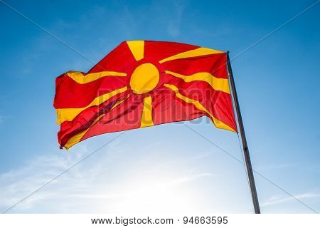 Macedonian flag on the sky background