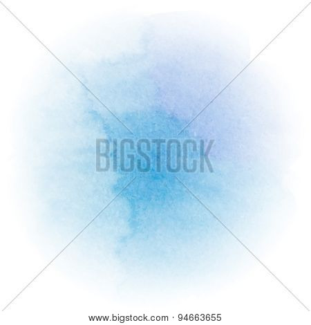 Abstract bright blue watercolor background. Watercolor texture. Decoration design element.