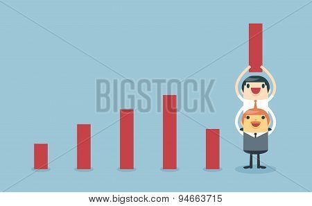 Businessman Lifting Increase Graph With Support From The Boss And Teamwork.