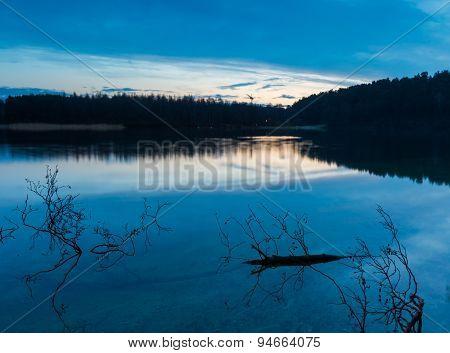 Sunrise Over Beautiful Wild Lake