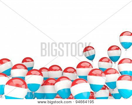 Flying Balloons With Flag Of Luxembourg