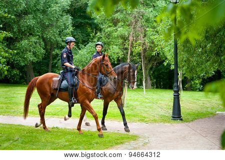 MOSCOW - JUNE 20: Moscow - Horse police works at XII International Jazz Festival