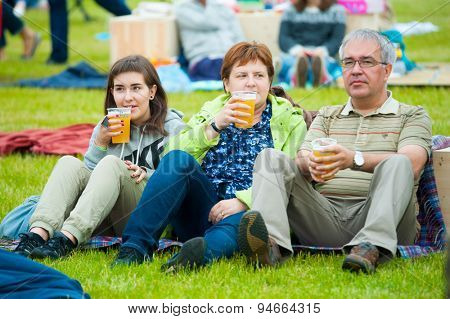 MOSCOW - JUNE 20, 2015: Family drink beer on XII International Jazz Festival