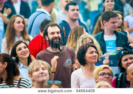 MOSCOW - JUNE 21, 2015: People attend open-air concert on XII International Jazz Festival