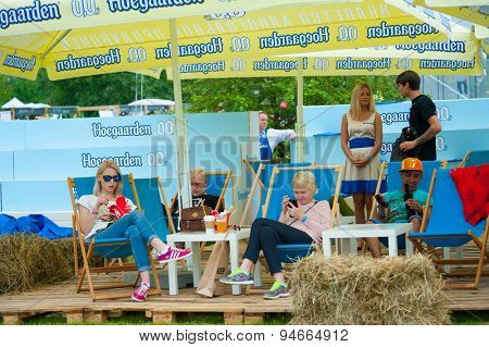 MOSCOW - JUNE 21, 2015: Hoegaarden makes non-alcoholic beer promotion campaign on XII International Jazz Festival