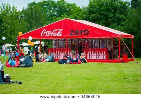 MOSCOW - JUNE 21, 2015: Coca-Cola makes Coca-Cola Zero promotion campaign on XII International Jazz Festival