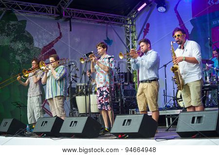 MOSCOW - JUNE 21: Moscow Brass Band group performs at XII International Jazz Festival