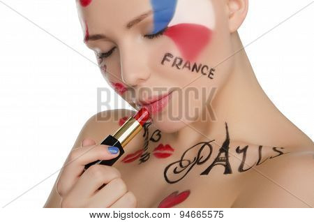 Young Woman With Makeup On Theme Of Paris