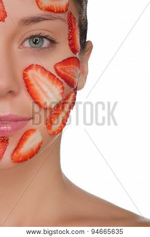 Young Woman With Mask Of Strawberries