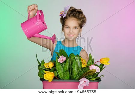 Happy Girl Watering Beautiful Flowers
