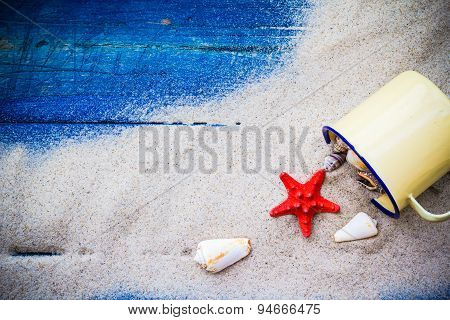 Colorful Shells Cup Sand Strewn Blue Boards
