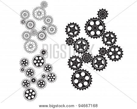 Toothed gears in a single mechanism. Vector illustration