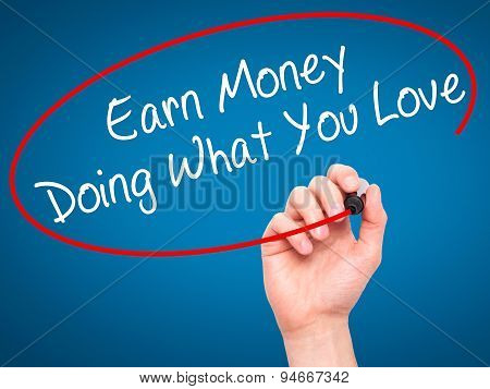 Man Hand writing Earn Money Doing What You Love with black marker on visual screen.