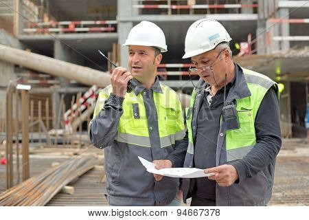 Civil Engineer And Senior Brigadier At Construction Site
