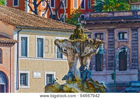 Fountain Of The Tritons In Rome, Italy