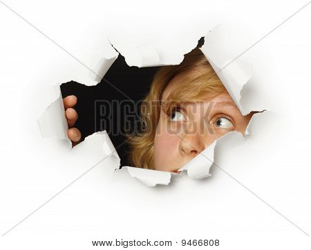 Woman Looks Out Of Hole With Curiosity