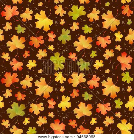 Autumn pattern with maple leaves