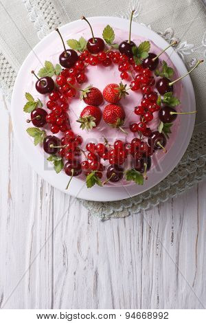 Beautiful Cake With Fresh Berries Horizontal Top View Close-up