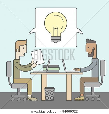 Two businessmen with beards discussing ideas at the table. Brainstorming concept. Vector flat design Illustration.