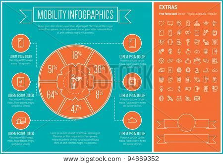 Mobility infographic template and elements. The template includes the following set of icons - wifi, microphone, SMS, browsing, heart, bulb, satellite and more. Modern minimalistic flat thin line