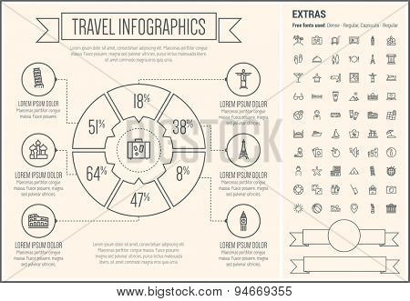Travel infographic template and elements. The template includes the following set of icons - beach ball, waiter, starfish, towel, dice, bed, luggage, laptop, wifi, card, food and more. Modern