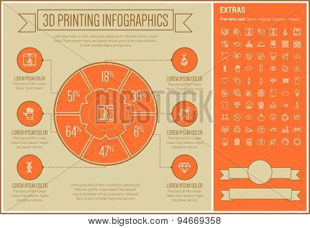 Three D Printing infographic template and elements. The template includes the following set of icons - 3D box, test tube, diamond, website, electric calculator, lungs  and more. Modern minimalistic