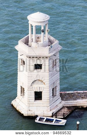 Ancient Lighthouse On The Island Of San Giorgio In Venice