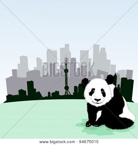 Beijing  skyline with panda