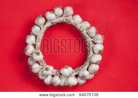 Wattled Garlic Round On A Red Background