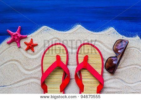 Sea Shells Flip Flops Beach Sand
