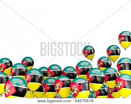 Flying Balloons With Flag Of Mozambique