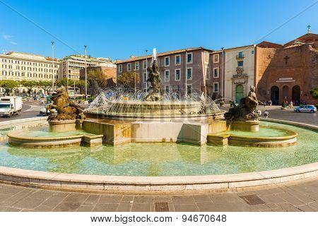 Piazza Della Repubblica In Rome, Italy