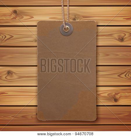 Realistic, vintage label on wooden planks.
