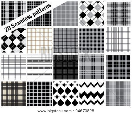 big set seamless, plaid style , pattern Swatches Included For Illustrator user