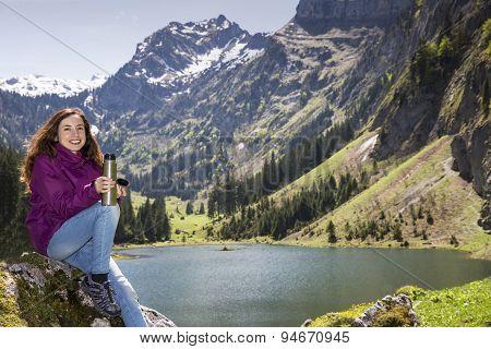 Hiker Woman Taking A Break