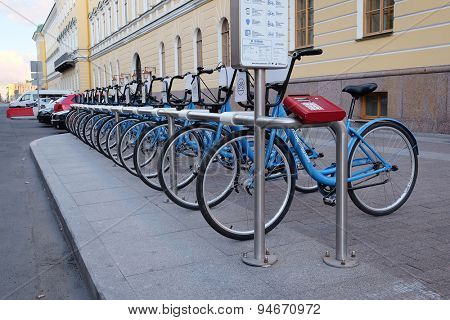 St. Petersburg, RUSSIA - June 9, 2015: Row of bicycles on the parking in St. Petersburg, Russia