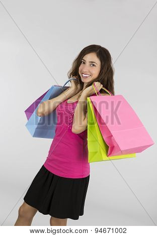 Young Happy Shopping Woman