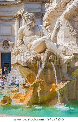 Fountain Dei Fiumi In Rome, Italy