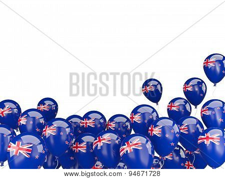 Flying Balloons With Flag Of New Zealand