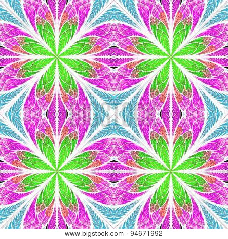 Symmetrical Fractal Pattern In Stained-glass Window Style. Pink, Blue And Green Palette. On White.