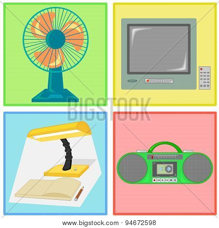 Vector Of Fan, Television, Lamp And Radio Cassette Tape