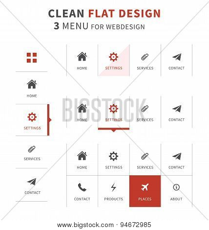 Flat Design Menu Types