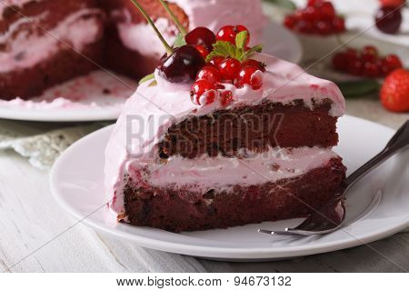 Piece Of Pink Cake With Fresh Berries Close-up Horizontal