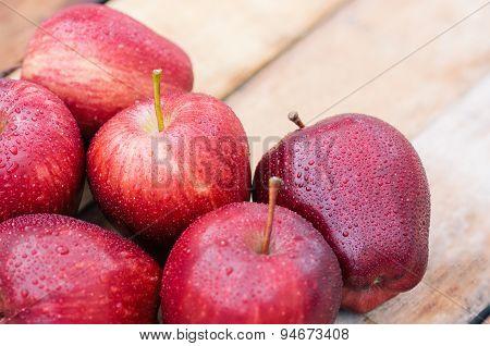 Close Up Apple Fresh On Wood Grain