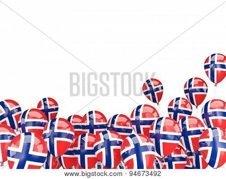 Flying Balloons With Flag Of Norway