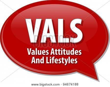 word speech bubble illustration of business acronym term VALS Values Attitudes Lifestyles