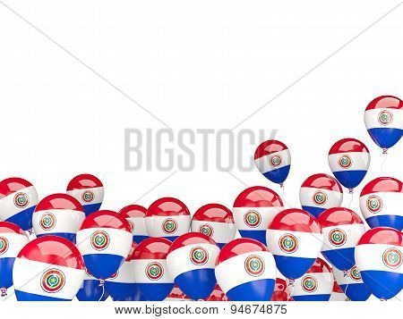 Flying Balloons With Flag Of Paraguay