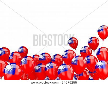Flying Balloons With Flag Of Republic Of China