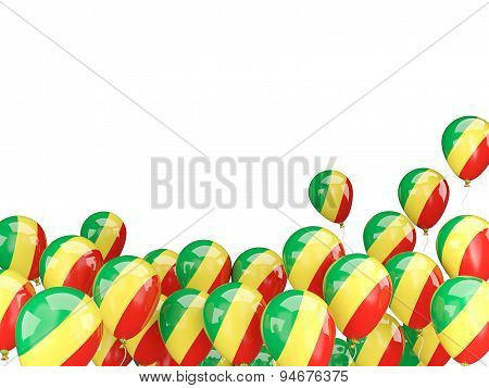Flying Balloons With Flag Of Republic Of The Congo