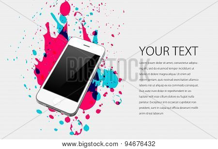A white mobile phone on white background with splatters
